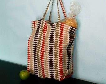 Grocery Tote.  Reusable and Recycled.  Brown and Tan.
