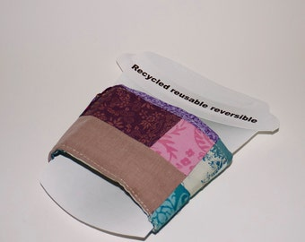 Cup Cozy. Reversible.  Made with Recycled Fabrics.  Eco-friendly