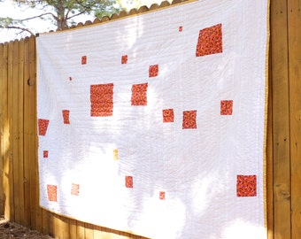 Modern Bed Quilt-Twin Size.  Clean and Fresh.  Hand Quilted. OOAK. Ready to Ship