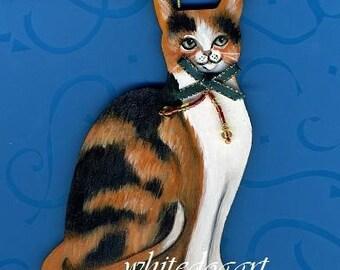 Handpainted Calico Cat Christmas Ornament
