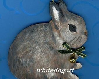 Handpainted Dwarf Rabbit Christmas Ornament