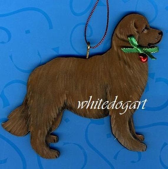 Brown Newfoundland Handpainted Christmas Ornament