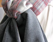 Men Wool Scarf, Plaid, Cream Red Gray, OOAK RTS