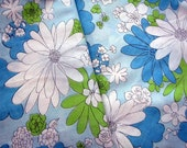 Vintage Blue Green White Flowers Twin Sheet Bedding Fabric