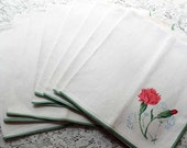 CLEARANCE Eight Linen Napkins, Carnations, Vintage White Green Pink