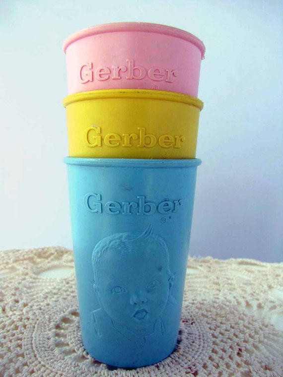SALE Gerber Baby Cups, Plastic,  Pink Yellow Blue, Vintage