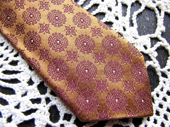 SALE Silk Vintage NECKTIE, Super Skinny Tie, Copper Bronze Mini Print, late 1950s