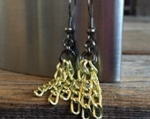 Metallic Yellow Chain Earrings Two Inches Long