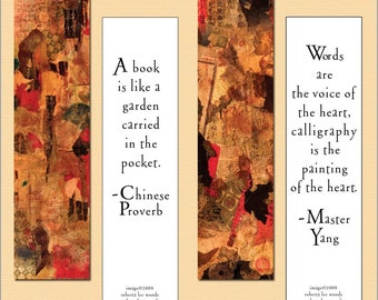 Bookmark, Asian collage, art, bookmarks, quotes, pair