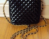 Vintage 80s Quilted Patent Leather Gold Chain Purse