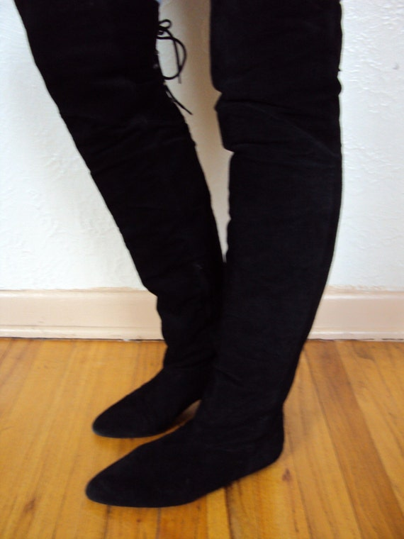 Vintage 80s Flat Black Suede Over The Knee Pirate Boots