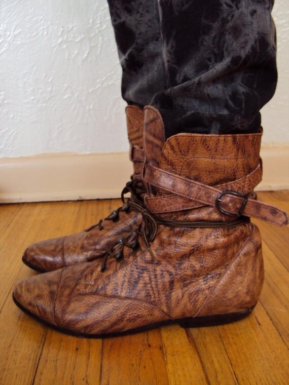 Vintage Brown Leather Lace Up Granny Oxford Ankle Boots