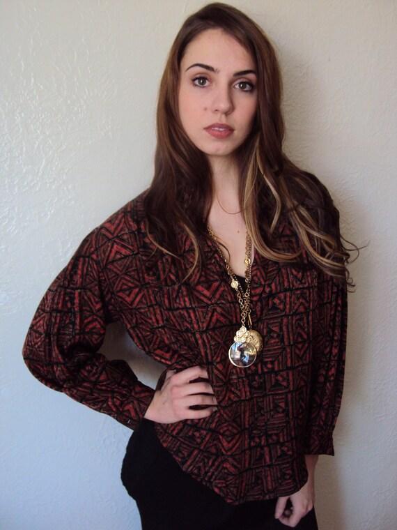 Vintage 80s Aztec Silk Blouse Shirt