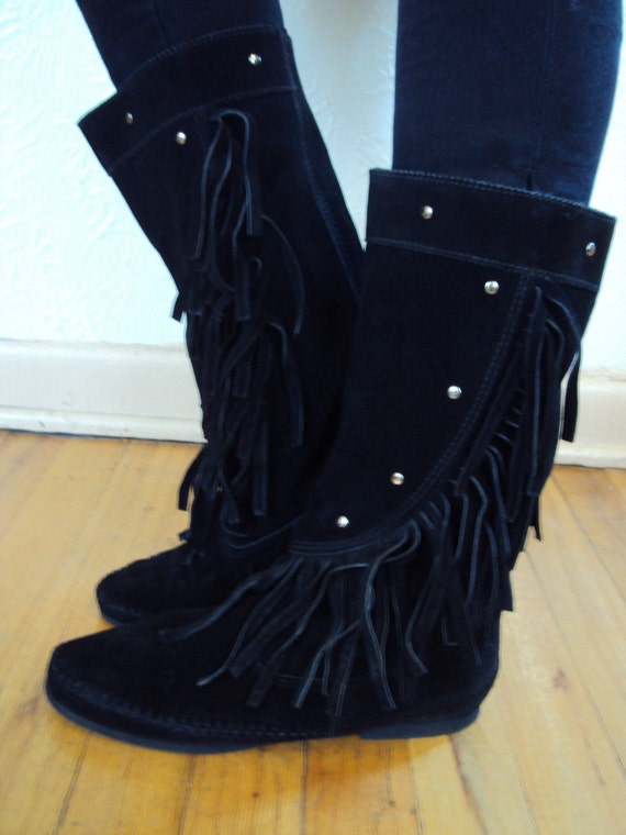 vintage black suede minnetonka fringe boots
