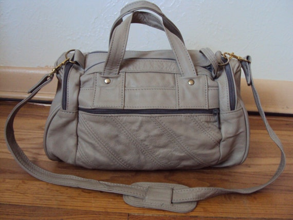 Vintage Grey Leather Duffle Bag Purse