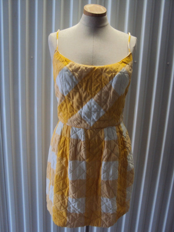 Vintage 80s Anna Sui Quilted Sundress Gingham Dress