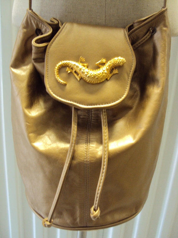 Vintage 80s Gold Leather Cinch Lizard Cross body Purse