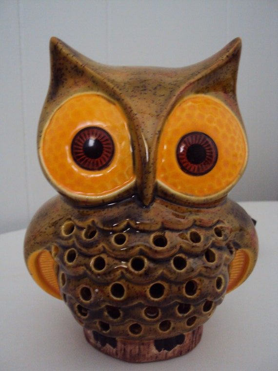 Vintage 70s Ceramic Owl Night Light Lamp