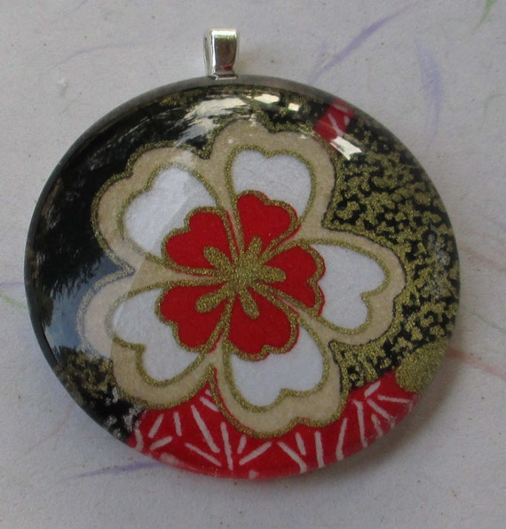 Gold, White, Black and Red Floral Chiyogami Paper Tile Pendant