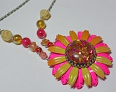 Vintage Pink and Orange Enamel Flower Statement Necklace -- Confetti -- JaelDesigns