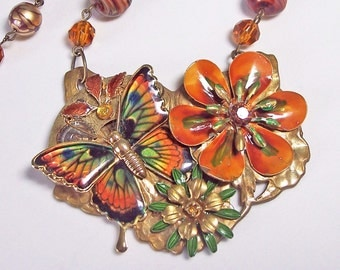 Steampunk Enamel Flower Statement Necklace --Maplewood Butterfly - OOAK