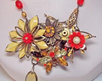 Rhinestone Butterfly Steampunk Statement OOAK Necklace - Gold, Orange, Bronze