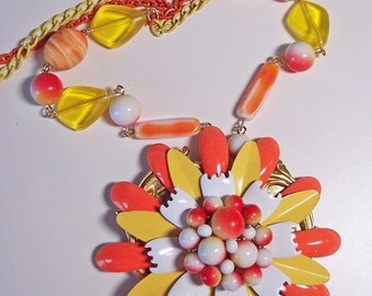Sunshine Days - Enamel Flower Neo Victorian Statement Necklace - OOAK