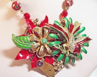 Steampunk Red and Green Enamel Flower Statement Christmas Necklace - OOAK -- Holiday