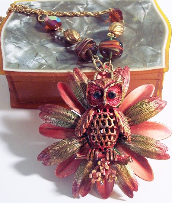 Owl Statement Necklace - OOAK Necklace - Statement Necklace - One of a Kind