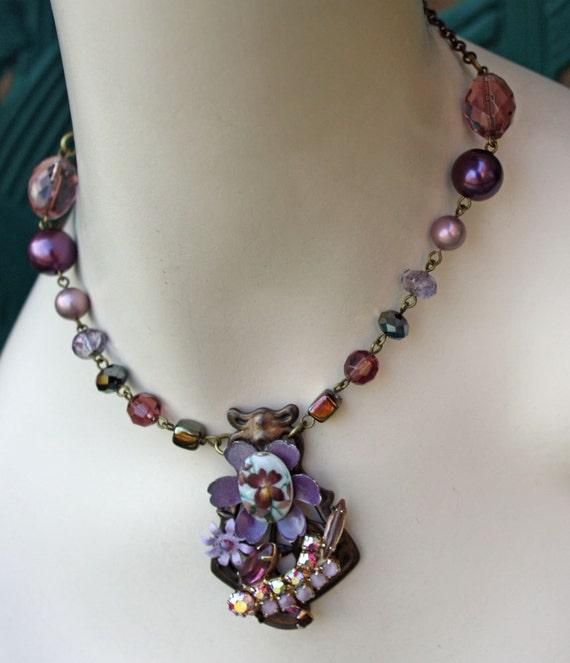 Violet Enamel Flower Statement Necklace -- Sweet -- OOAK