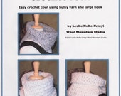 Use Coupon Code WOOL15 for an additional 15 Percent off Easy Bulky Crochet Cowl E Pattern pdf file