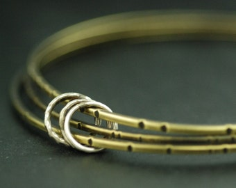 Bangle Bracelets, stacking bangles, brass, sterling silver, mixed metal, simple, every day jewelry