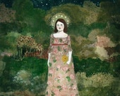 she saw through the night by the light from her crown of stars - limited edition print