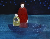 they drifted through the sea in a boat made of stars - limited edition print