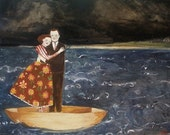 nigel and lily embracing at sea  - print