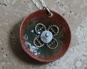 green copper enamel stack necklace