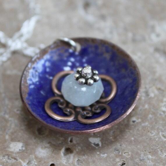 cobalt blue enamel stack pendant