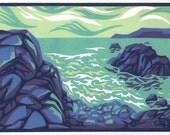 BREAKING WAVES reduction linocut seaside view