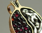 POMEGRANATE silver and bronze garnet pendant