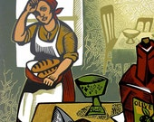 SUPPER AT MARTHA'S linocut