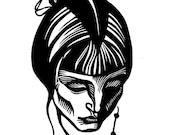 Russian Poet ANNA AKHMATOVA linocut portrait