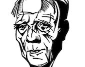 Poet ROBERT FROST linocut portrait