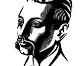 Poet Rainer Maria RILKE linocut portrait