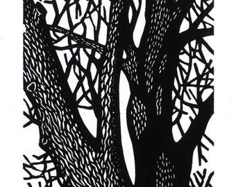 Bare Trees linocut