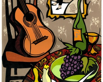 ROOM WITH A GUITAR linocut