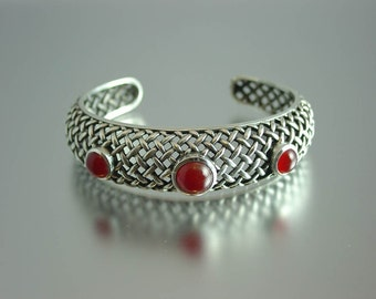 Carnelian Silver Wicker Bracelet Ready to Ship