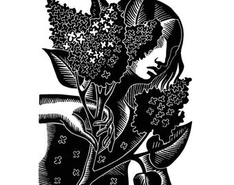 SCENT OF LILAC linocut
