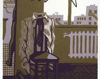 ROOM with NO VIEW reduction color linocut