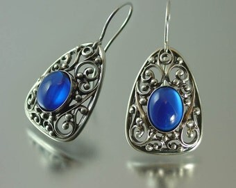 GERTRUDE created blue Sapphire silver earrings