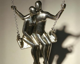 TWO ON A SWING silver pendant - Ready to Ship
